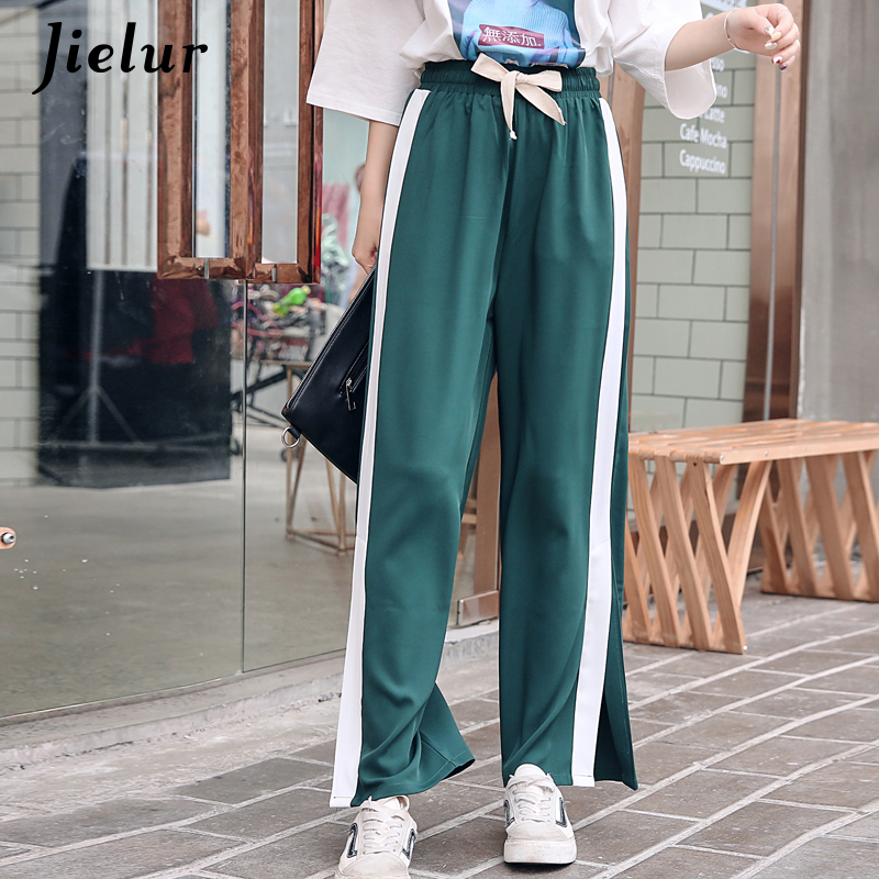 Jielur 2019 Korean Casual Wide Leg Pants Split Capris Side Stripe Harajuku Trousers for Women BF High Waist Pants S-XXL Dropship