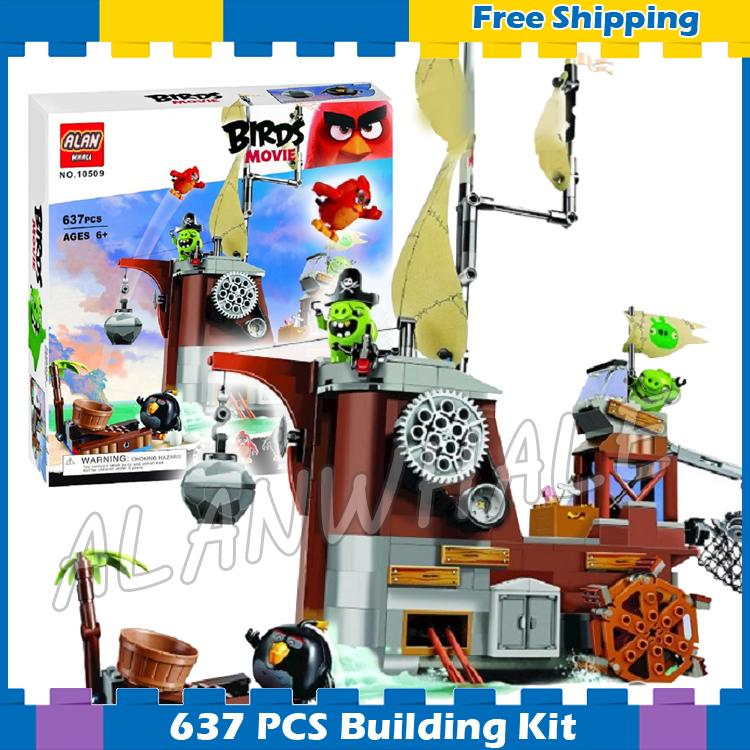 637pcs The Birds Movie Piggy Pirate Ship 10509 Building Kit blocks Model Children Toys Games DIY Set Bricks Compatible With Lego lepin 22001 pirate ship imperial warships model building block briks toys gift 1717pcs compatible legoed 10210
