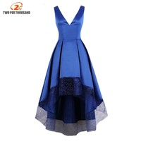 S 4XL Vintage Blue Sexy Deep V Neck Women Maxi Dress High Low Hem Mesh Dresses Evening Party Backless Formal Dress