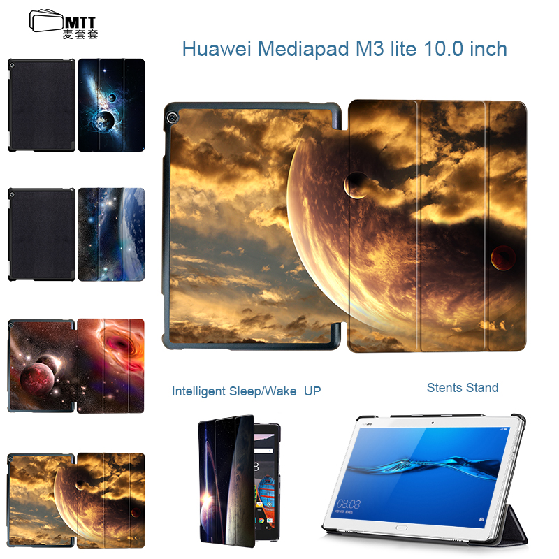 MTT Planet Universe Painted case for 2017 Huawei MediaPad M3 Lite 10 cover for BAH-W09 BAH-AL00 M3 Lite 10.1 tablet case Funda smart ultra stand cover case for 2017 huawei mediapad m3 lite 10 tablet for bah w09 bah al00 10 tablet free gift