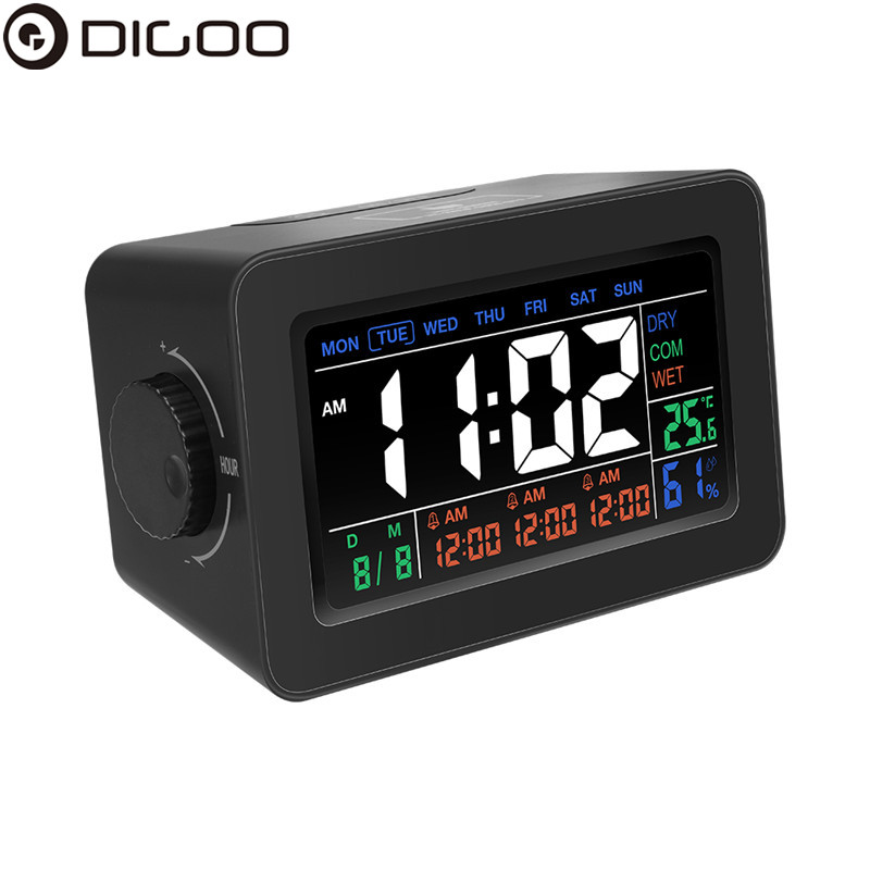 цены Digoo DG-C1R NF Black Simplified Alarm Clock Touch Adjust Backlight with Date Temperature Humidity Display