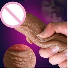 Super Realistic Soft Silicone font b Dildo b font Suction Cup Male Artificial Penis Dick Woman