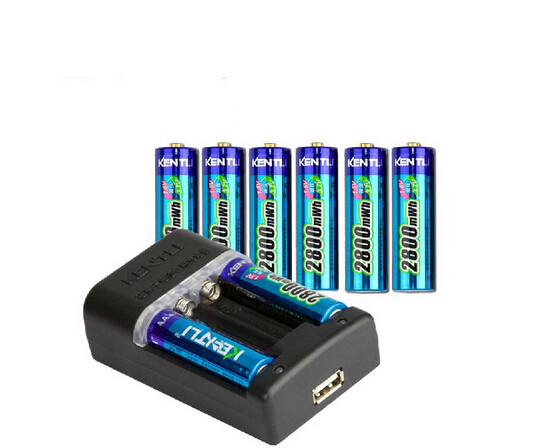 KENTLI 8pcs 1.5V 3000mWh AA rechargeable Li polymer li ion polymer lithium AA battery + KENTLI aa aaa Charger