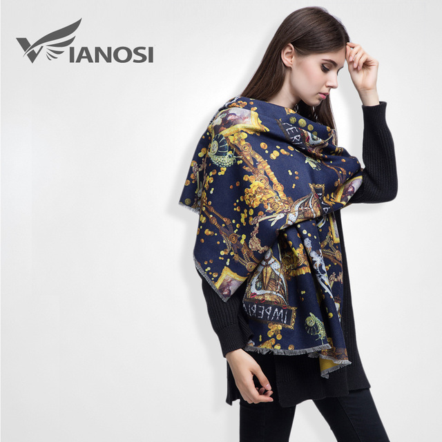 [VIANOSI] Brand Luxury Oil Printed Scarf Women Winter Cashmere Female Foulard Shawl VS027