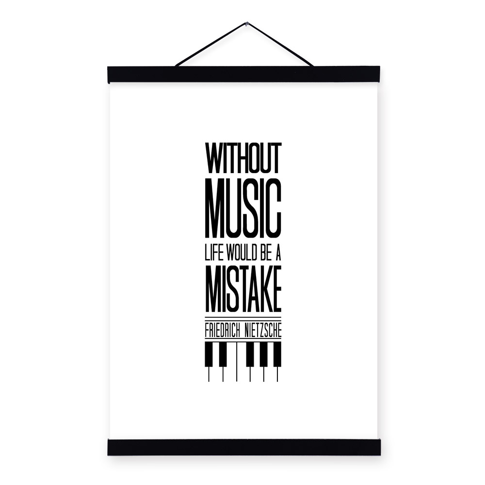 Life Quote Poster Minimalist Black White Motivational Typography Music Life Quotes