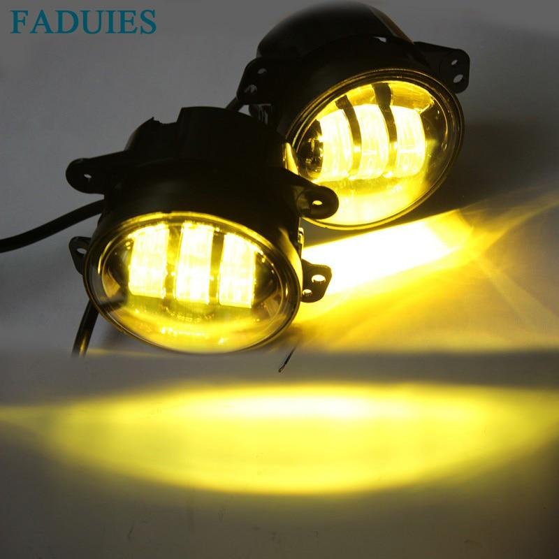 FADUIES 1 pair 4 Inch 30 W Putaran kuning cahaya Led depan Fog lamp - Lampu mobil - Foto 5