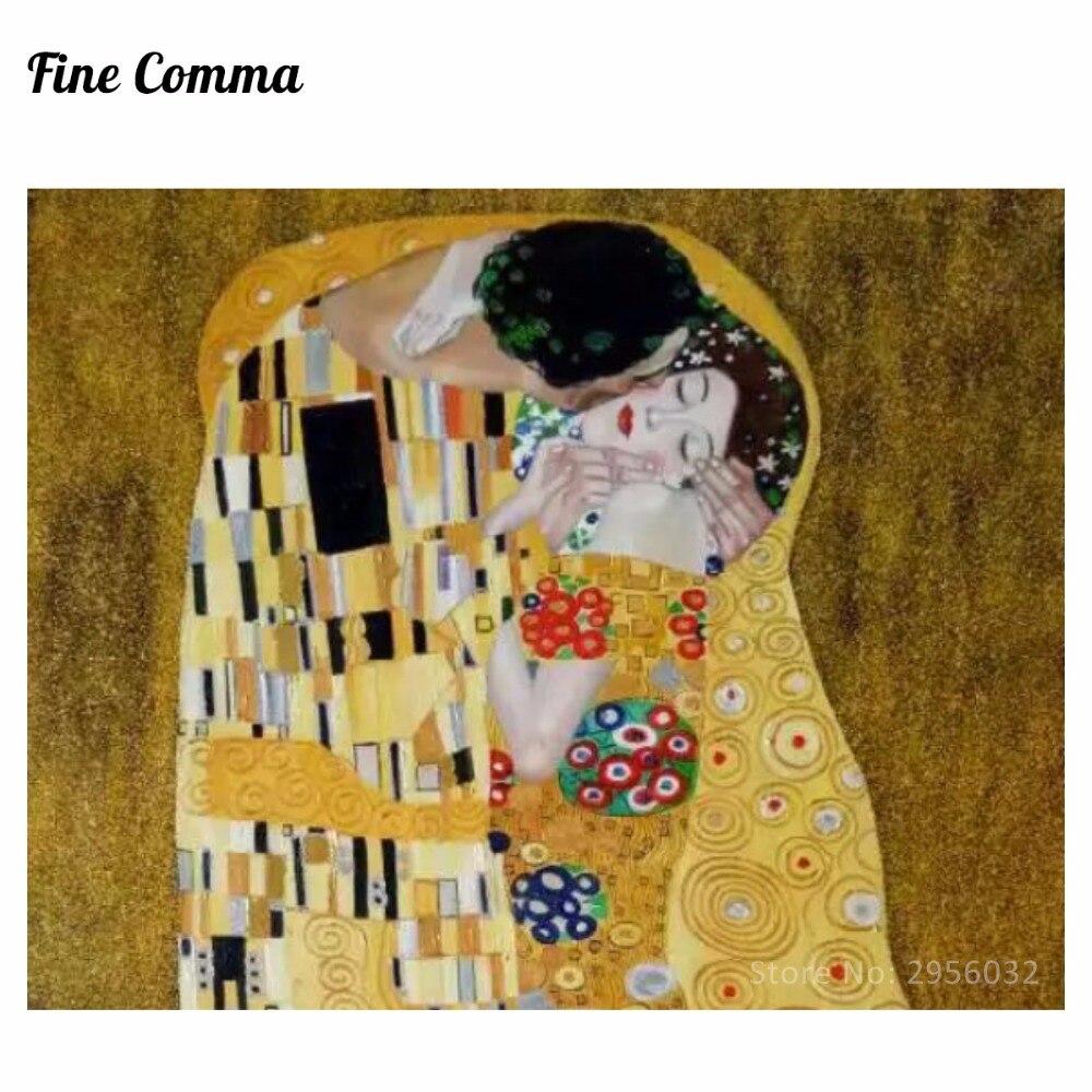 Poljub (ljubimci) avtorja Gustav Klimt slikarstvo na platnu stenske - Dekor za dom - Fotografija 5