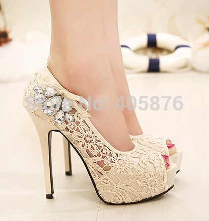 ФОТО Summer  new hot European brand style Ladies sexy rhinestone lace wedding shoes high heels platform pumps for women rh