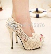 Summer  new hot European brand style Ladies sexy rhinestone lace wedding shoes high heels platform pumps for women rh