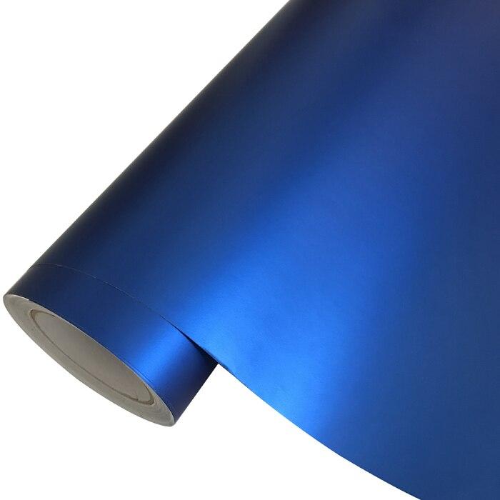 Матовый металлический хромированный виниловая пленка для автомобиля с воздушным пузырьком фиолетовая атласная металлическая наклейка из фольги для автомобиля обертывание ping покрытие - Название цвета: Blue