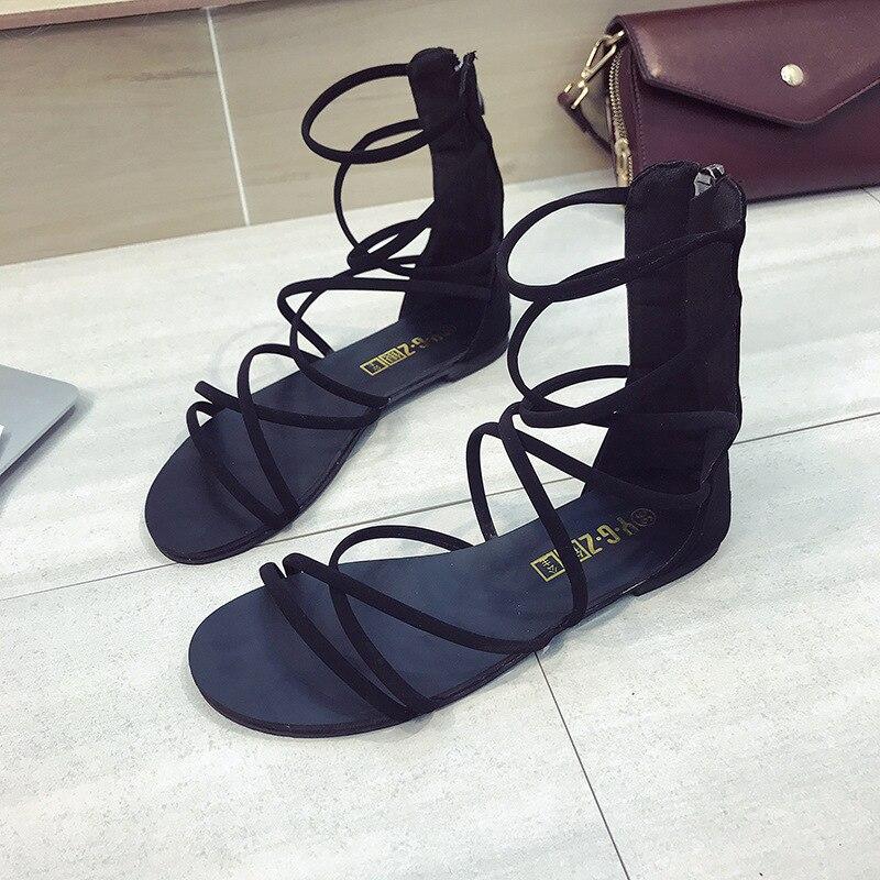 BONGEAN Summer black flat Women Sandals Open Toe Gladiator Sandals Women zipper Up Women Platform Sandals Casual Shoes 6