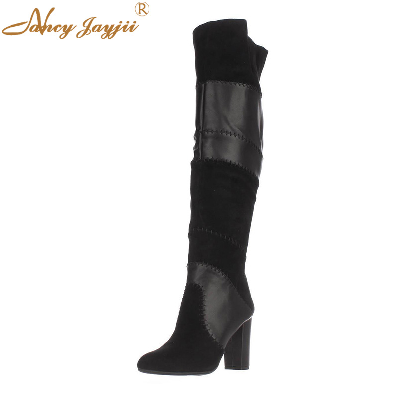 Genuine Leather Kid Suede Women Shoes Adult ladies Black Boots Zipper Over-the-knee Slip-on Super High Square heel Winter 2019