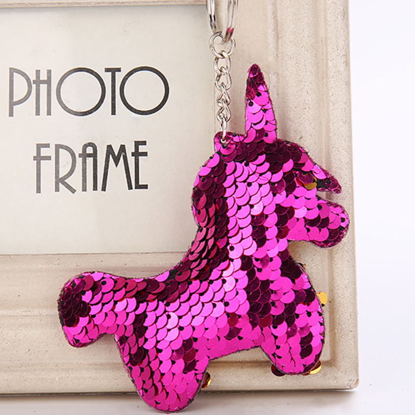 Cute Women Pegasus Unicorn Keychain Glitter Sequins Key Ring for Women Handbag Purse Pendants Holder Keyring Porte Clef cute cactus keyring for women