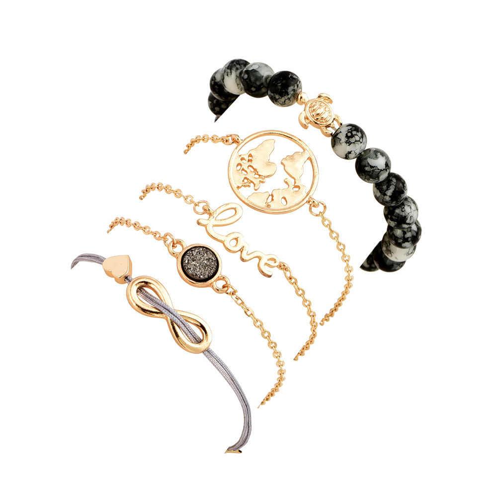 Multi tipos Bohemian Turtle Charm pulseras brazaletes para mujer moda oro Color hebra pulseras conjuntos joyería fiesta regalos