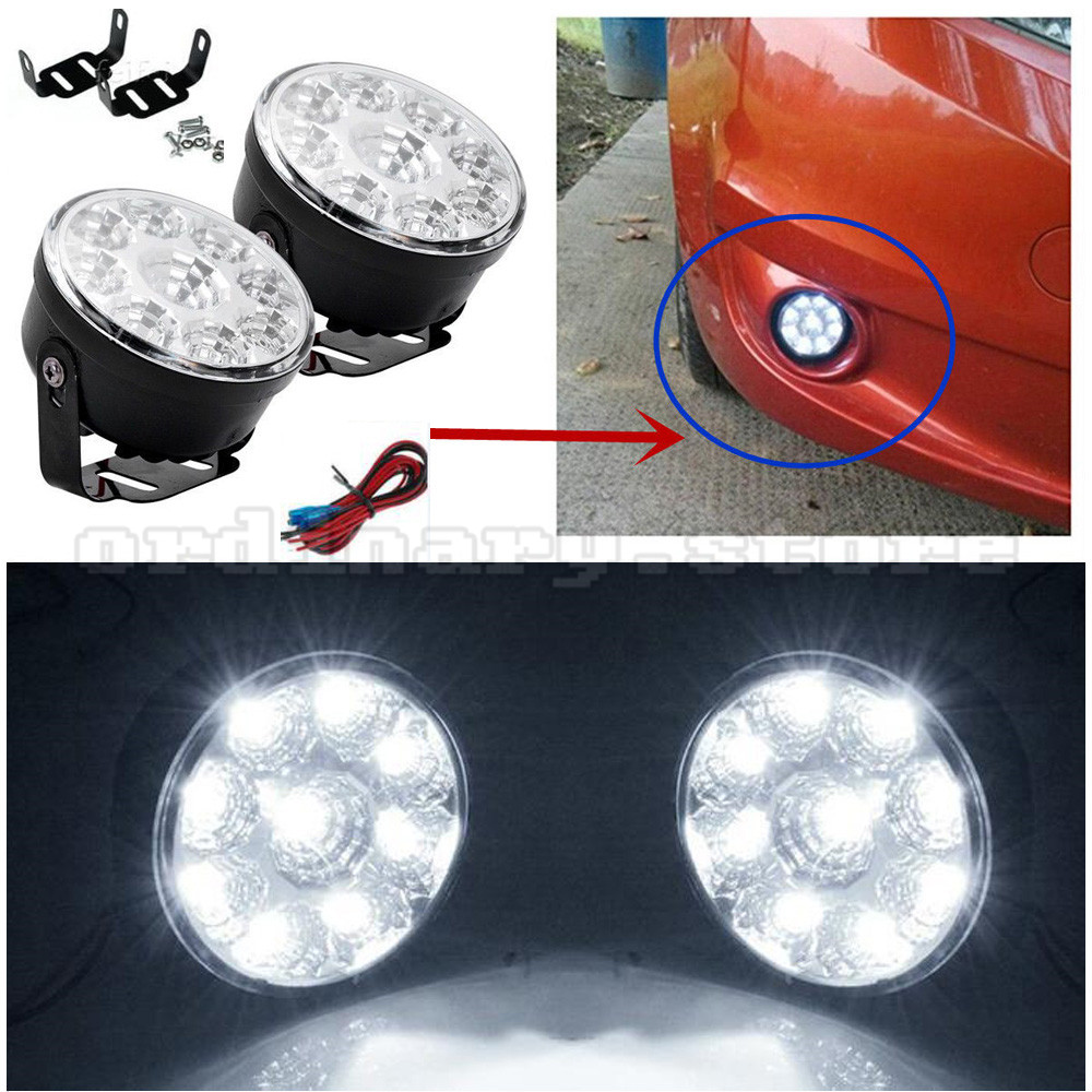 1 Pair Super White Bright 9 LED Round Car DRL Fog Head Lamp Daylight Driving Daytime Running Light Headlight 12V h3 80w 16 cree led super bright pure white fog tail head lamp bulbs auto driving daytime running light car headlight hp href page 9 page 1 page 2 href