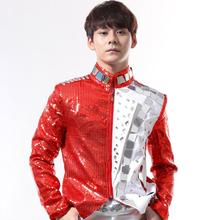 Fashion men suits designs lens rivets homme terno stage costumes for singers red sequin blazer dance clothes jacket punk