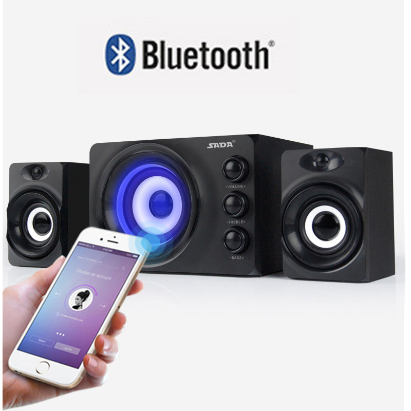 SADA D-216 Multimedia Stereo Computer Combination Speakers BluetoothUSB DiskTF CardAUX in With Colorful LED 2.1 USB Power