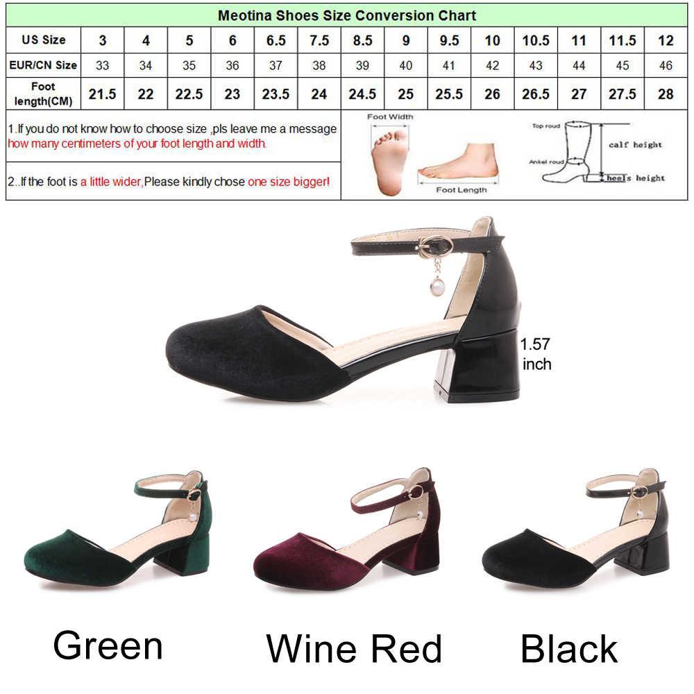 Meotina 女性 Med ハイヒールのベルベットの靴ブロックヒールアンクルストラップ真珠パーティーの靴緑 2018 春の新ビッグサイズ 11 33-46