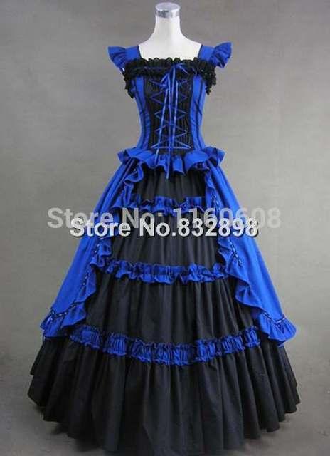 Royal Blue And Black Elegant Gothic Victorian Dress Decoration Ball