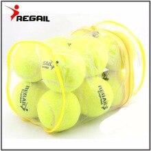 12 шт./лот, высококачественный Эластичный теннисный мяч для тренировок, спортивные резиновые шерстяные теннисные мячи для теннисной практики с бесплатной сумкой