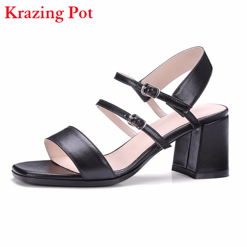 2017 Fashion Superstar Genuine Leather Women Brand Summer Shoes Peep Toe Sandals Gladiator Slingback High Heels Runway Shoes L65 xiaying smile summer new woman sandals platform women pumps buckle strap high square heel fashion casual flock lady women shoes