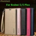 Hanman for Xiaomi Redmi 5 Plus Case Genuine Leather for Xiaomi Redmi 5 Case Flip Cover Wallet Card Stand Shockproof Capa Coque
