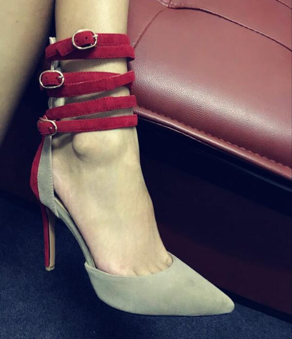 Drop Shipping 2017 Spring Summer New Fashion Women Nude Red Suede Patchwork Pointed Toe Thin Heels Pumps Buckles Party Shoes new fashion woman flats spring summer women shoes top quality strappy women sandals suede pointed toe gladiator ballet pumps