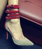 Drop Shipping 2017 Spring Summer New Fashion Women Nude Red Suede Patchwork Pointed Toe Thin Heels