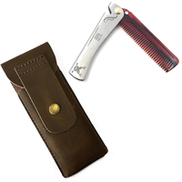 T 19 Can Be Use As A Bottle Opener Customized Stainless Steel Acetate Folding Comb With Leather Bag