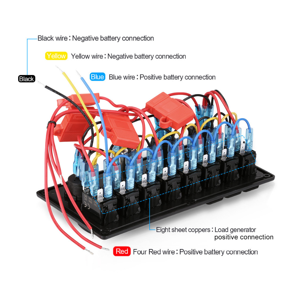 digital 12v 24v 5pin switch panel 8 gang waterproof dual usb charger cigarette lighter socket voltmeter boat car marine rocker in cables adapters sockets  [ 1000 x 1000 Pixel ]