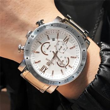 Top Luxury Brand MEGIR Sport Men Quartz Watch  Steel band  Mens Watches Sports Military Wrist Watches Waterproof Relogio