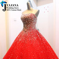Plus Size Bridal Gown Sweetheart Vestido De Noiva Princesa 2016 High Quality Beaded Crystal Princess Ball Gown Red Wedding Dress