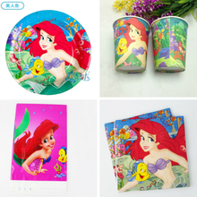 62pcs Little Mermaid theme kids favor gift birthday party decoration plate cup&napkin tablecloth for people child supplies