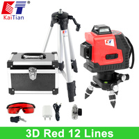 KaiTian 3D Laser Level Tripod With Tilt Slash Function And 360 Rotary Self Leveling Outdoor 650nm