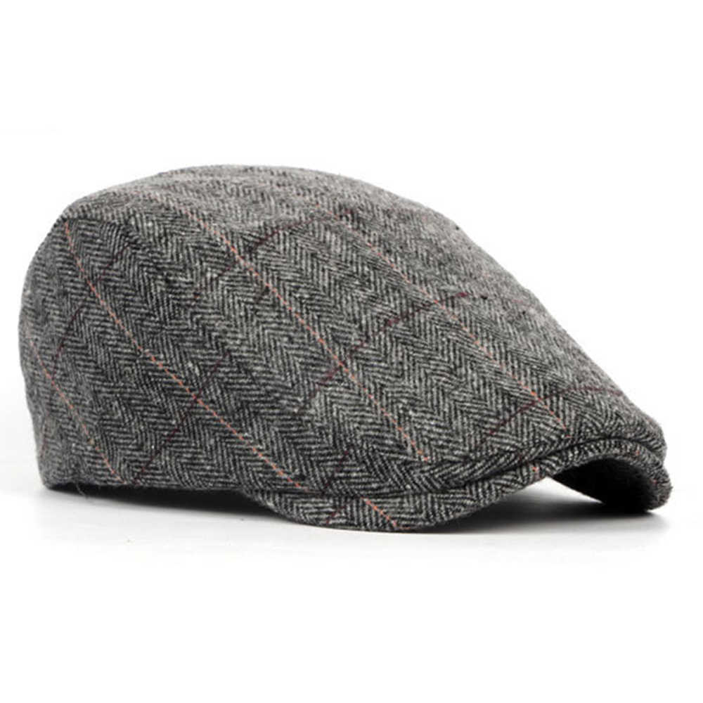 db566534f England Style Mens Berets Wool Blend Ivy Cap Tweed Herringbone Newsboy  Gatsby Flat Winter Warm Hat