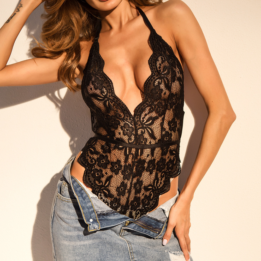 Backless Lace Bodysuit Transparent Female Hot Sexy 2019 Jumpsuits Women Deep V Sheer