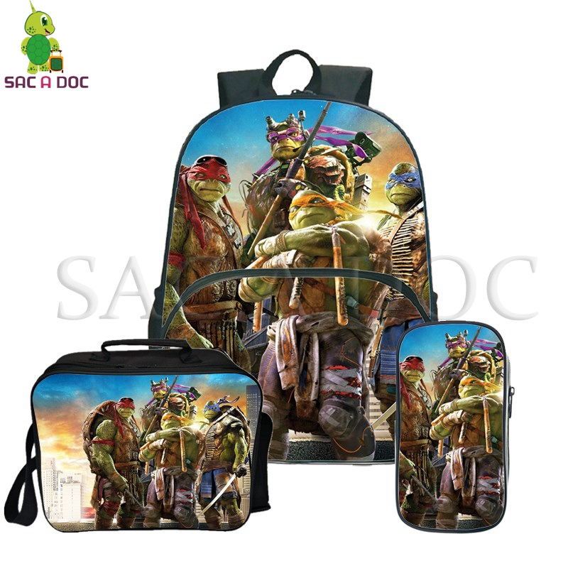 Teenage Mutant Ninja Turtle 3Pcs Sets Backpack School Backpack for Teenage Girls Boys Travel Backpack with