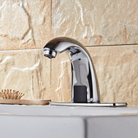 Automatic Sensor Touchless Bathroom Sink Faucet with Hole Cover Plate Built in Filter Chrome Finished Brass Water Tap
