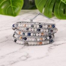 YGLINE женский браслет в стиле бохо, натуральный камень 5X, кожаный браслет, браслет с камнями из бисера, Прямая поставка