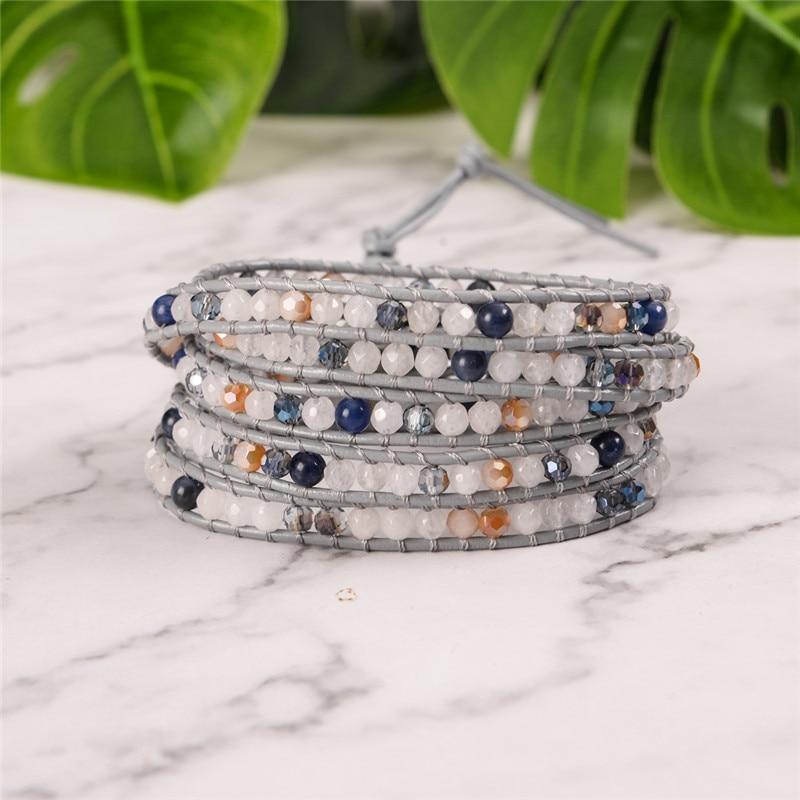 YGLINE Women Boho Bracelet Natural Stone 5X Leather Wrap Bracelet Stone Beaded Bracelet Drop Shippping(China)
