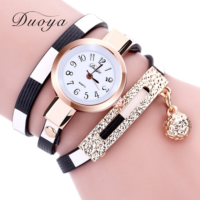 Duoya Watches Luxury Gold Women's Bracelet Wristwatch Ladies Female Leather Vintage Fashion Business Watch Gift Dropshipping