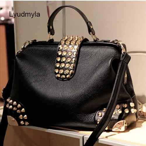 Black Leather Doctor Bag Rivet Satchel Hand Bags For Women Studded Handbag Ladies Crossbody Bag 2017 New Fashion Office Handbags stylish women s satchel with rhinestone and rivet design