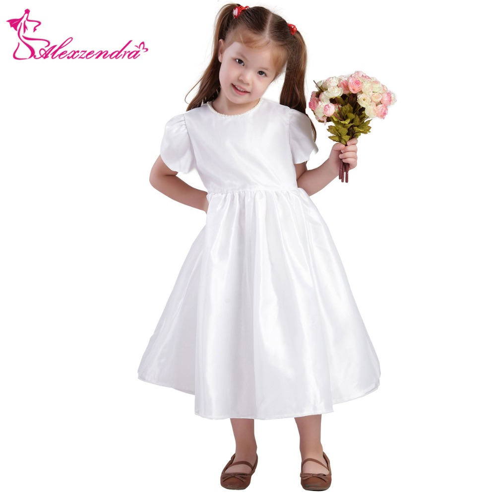 Alexzendra White Ivory Satin Flower Girls Dresses With Short Sleeves