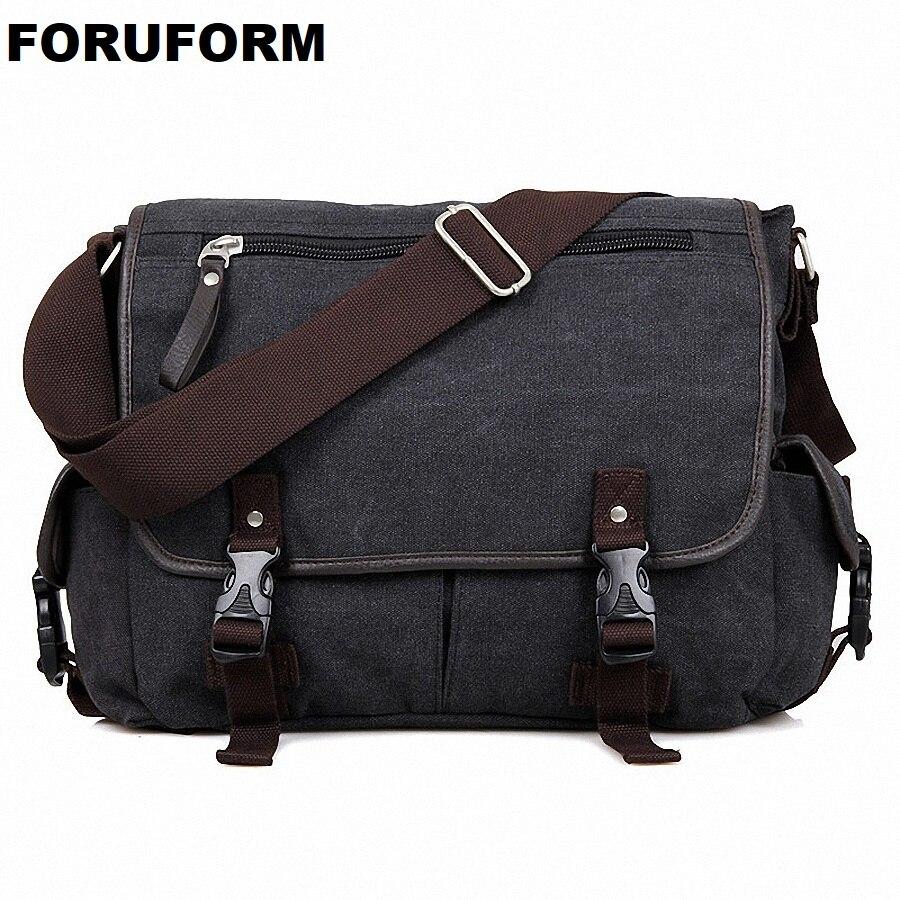 Винтаж Crossbody сумка Холст Сумки на плечо Для мужчин сумка Для мужчин Повседневное сумки 14 дюймов ноутбука Портфели мешок отдыха LI-1614