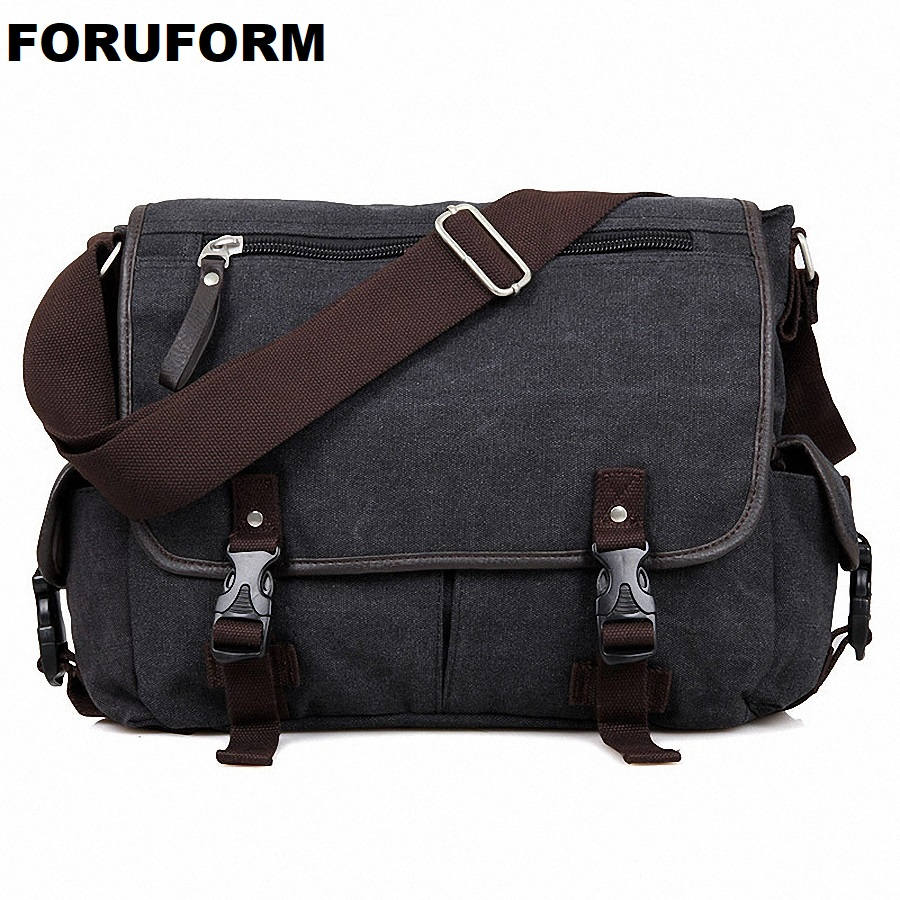 Vintage Crossbody Bag Canvas Shoulder Bags Men Messenger Bag Men Casual Handbag 14 Inch Laptop Briefcase Leisure Bag LI-1614 canvas leather crossbody bag men briefcase military army vintage messenger bags shoulder bag casual travel bags