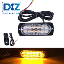 DXZ Strobe Light Bar 12 LED Flash Emergency Warning Caution Beacon Lamp Red Blue DC12V-24V