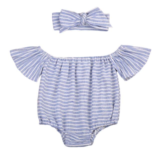 c22a6c65157c 2Pcs Baby girl romper Newborn Baby Girls Cute blue white Striped Romper  Jumpsuit + Headband Outfit Clothes