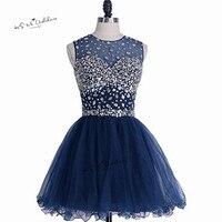 Темно синие скромные короткие Выпускные платья 2018 длиной выше колена Кристаллы Homecoming платье для вечеринок Выпускной Дешевые Vestidos De Renda Курт