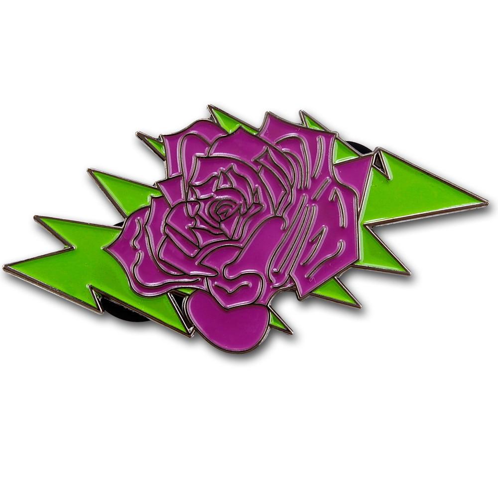 Customized Rose Badge New Style Zinc Alloy Engraving Back Pin