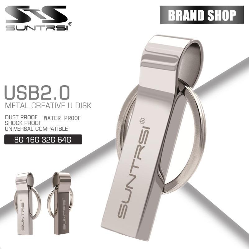 Suntrsi Pen Drive 64GB Metal USB Flash Drive Key Ring USB Stick High Speed Pendrive 32GB USB Flash Real Capacity Customized Logo